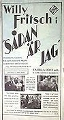 S�dan �r jag 1938 Movie poster Willy Fritsch