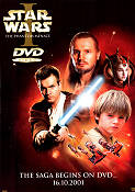 Star Wars I DVD 2001 Movie poster Liam Neeson George Lucas