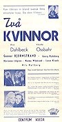 Tv� kvinnor 1947 Movie poster Eva Dahlbeck